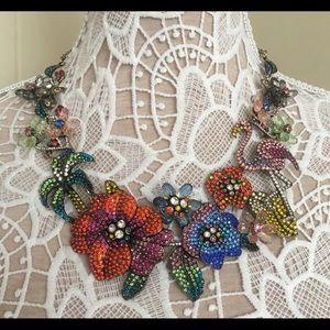 Natasha Multicolored Statement Necklace flamingo